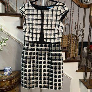 Antonio Melani Black/White Career Plaid Dress